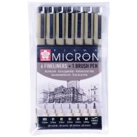 Набор капиллярных ручек Sakura Pigma Micron черные, 7 шт.,0,2/0,25/0,3/0,35/0,45/0,5/Brush