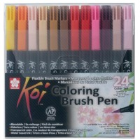 Набор акварельных маркеров Sakura Koi 24 цвета, кистевые