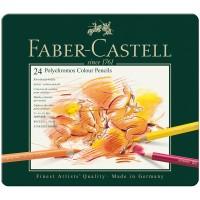 Карандаши цветные художественные Faber-Castell Polychromos 24 цвета, заточенные, в металлической коробке