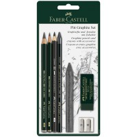 Набор карандашей ч/г Faber-Castell Pitt Graphite, 5шт.+ластик+точилка, 2B/6B