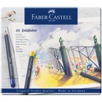 Карандаши цветные Faber-Castell Goldfaber 48 цветов, круглые, заточенные, в металлической коробке