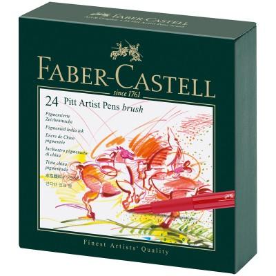 Набор капиллярных ручек Faber-Castell Pitt Artist Pen Brush ассорти, 24шт., студийная коробка