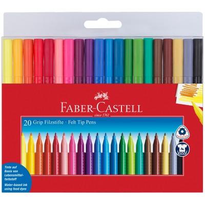 "Фломастеры Faber-Castell ""Grip"", 20цв., трехгранные, смываемые"