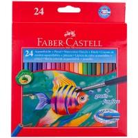 """Карандаши акварельные Faber-Castell """"Рыбки"""", 24цв+кисть, картон, европодвес"""