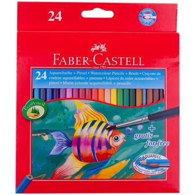 Карандаши акварельные Faber-Castell Рыбки, 24цв+кисть, картон, европодвес