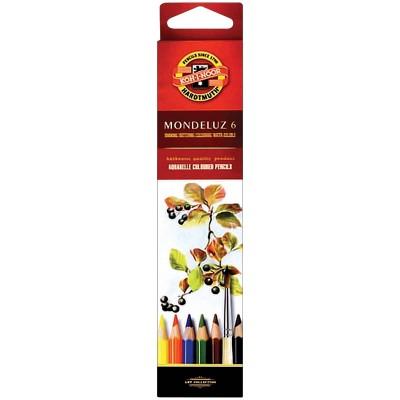 Карандаши акварельные Koh-I-Noor Mondeluz, 6 цветов, заточенные, картон, европодвес
