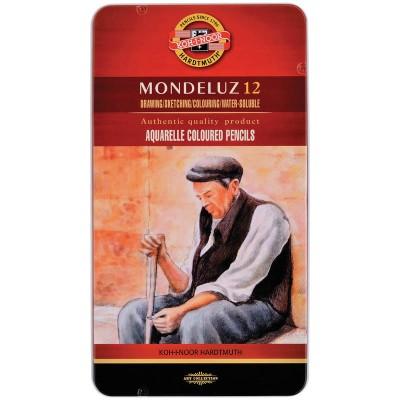 Карандаши акварельные Koh-I-Noor Mondeluz, 12 цветов, заточенные, металлический пенал