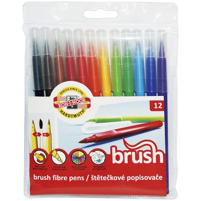 Фломастеры смываемые с кистевым пишущим узлом Koh-I-Noor Brush, 12цв., трехгранные