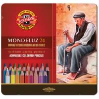Карандаши акварельные Koh-I-Noor Mondeluz 24 цвета в металлическом пенале
