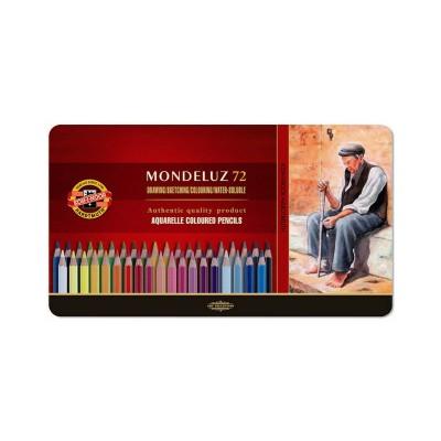 Карандаши акварельные Koh-I-Noor Mondeluz 72 цвета в металлическом пенале