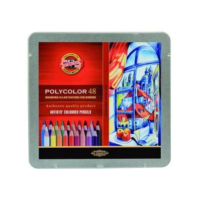 Карандаши цветные художественные Koh-I-Noor Polycolor 48цв., заточен., метал. пенал