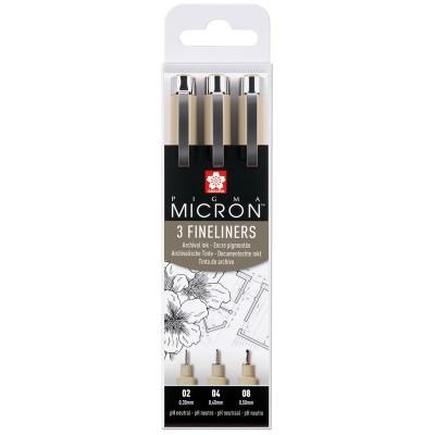 Набор капиллярных ручек Sakura Pigma Micron черные, 3шт., 0,3/0,4/0,5мм