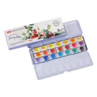 Набор акварельных красок Белые Ночи (палитра Е.Базановой) 21 цвета в металлическом пенале