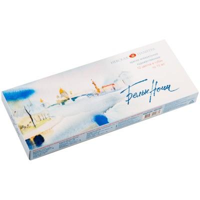 Акварель Белые ночи, художественная, 12 цветов, туба, пластиковый коррекс, картон