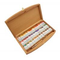 Набор акварельных красок Белые Ночи 36 кювет с кистью, в ящике из бука