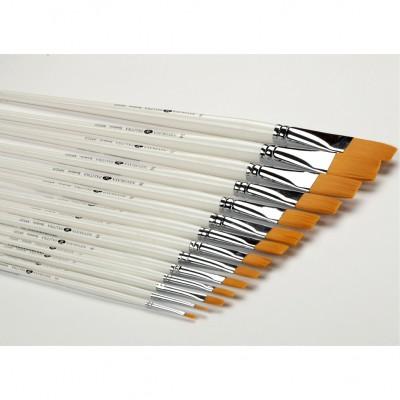 Кисть синтетика плоская №20 (20 мм) длинная ручка (Невская Палитра)